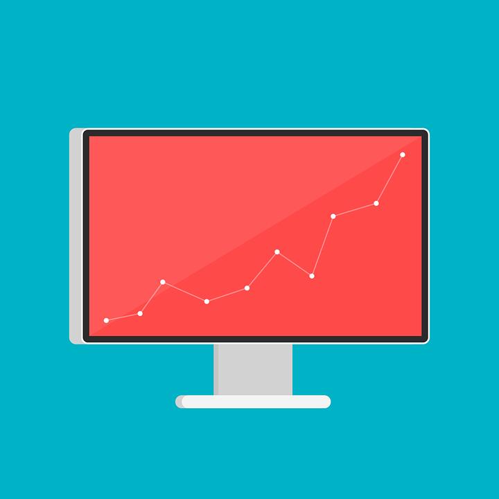 Computerskærm med stigende graf