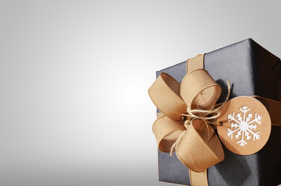 gave, bånd, kasse, jul